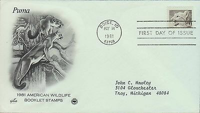 1981 - Fdc - American Wildlife Booklet Stamps - Puma
