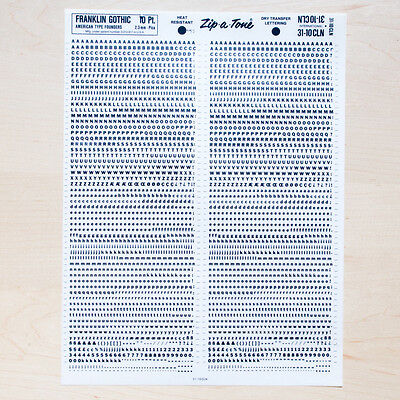 1 Sheet FRANKLIN GOTHIC 10pt Letraset L166 Rub on Letters Dry Transfers