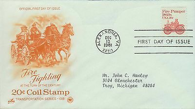 1981 - Fdc - Fire Fighting - 20 Cent Coil Stamp