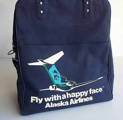 """Vintage Alaskan Airlines Travel Bag, """"Fly with a Happy Face""""!"""