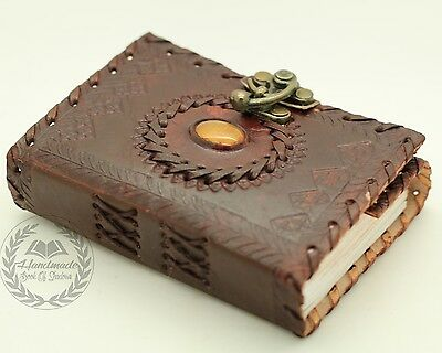 Unique Stone Wicca Journal Leather Handmade Book Of Shadows Blank Notebook Diary