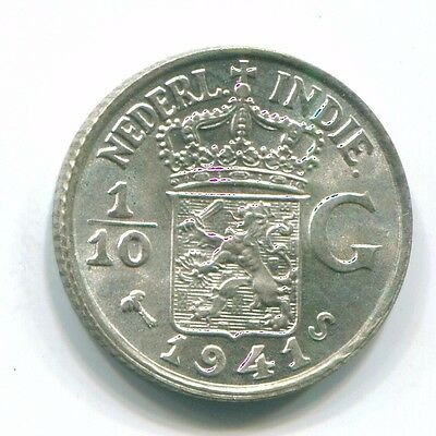 1941 Netherlands East Indies 1/10 Gulden Silver Colonial Coin Nl13554#3