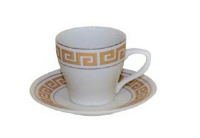 Set of 6 Porcelain China Cups + Saucers for Espresso or Turkish Coffee Gold Key