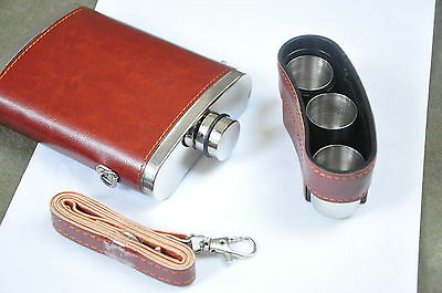 Hip Flask Top Quality Leather Covered 10 oz 3 Whiskey Shot Cups Carry Belt Gift