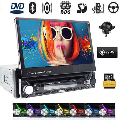 "800*480 Single 1DIN 7"" Touch Screen Car Stereo DVD Radio GPS Navigation Camera"