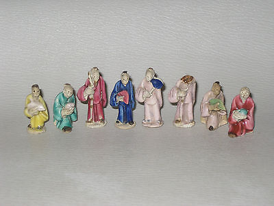 8 Antique Chinese Miniature Mud Men Bonsai Figures 4 cm