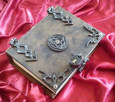 400 REMOVABLE pages Leather Triquetra Spell book Grimoire Book of Shadows