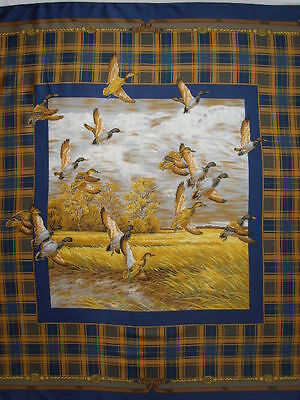 """Vintage FLYING DUCKS Mallards SCARF Polyester PLAID Blue Brown Country Life 33"""""""