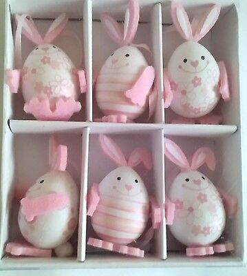 6 pcs Easter Bunny Egg Decorations Ostern Home Decor in Box Happy Easter Pink