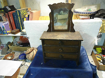Vintage  Wood Doll Dresser W/Mirror  3 Drawers Salesman Sample Chest SIGNED