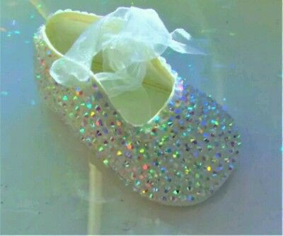 Gorgeous Baby Girls Satin Ivory Transparant Ab Diamond Sparkly Christening Shoes