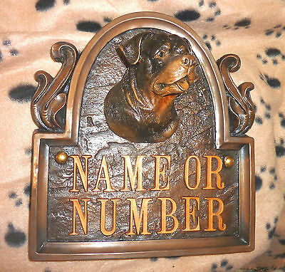 ROTTWEILER DOG HOUSE SIGN / PLAQUE WITH NUMBER OR NAME k9 ART  WALL SCULPTURE