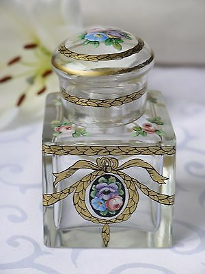 Antique Glass Inkwell With A Beautiful Art Nouveau Design & Enamel Flowers
