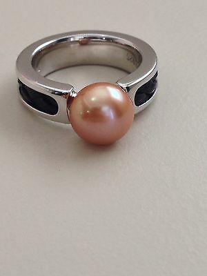 Honora Sterling Silver Freshwater Cultured Pearl Woven Leather Band Ring