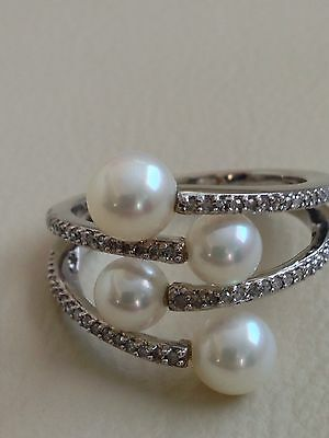 Honora Sterling Silver 1/5-Ct. T.W. Diamond & Freshwater Cultured Pearl Ring