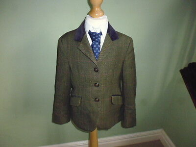 Mears Pytchley girls green wool tweed show jacket size S age 9-10 years short