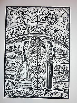 "Original Linocut Print ""Farewell to Lithuania"" by Lithuanian Traditional Artist"