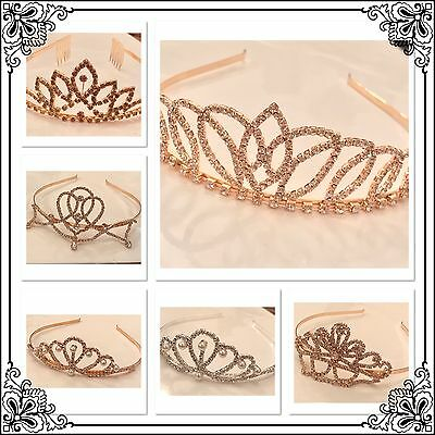 Crystal Tiara Crown Wedding Prom Pageant Crown Hair Jewelry Rose Gold or Silver