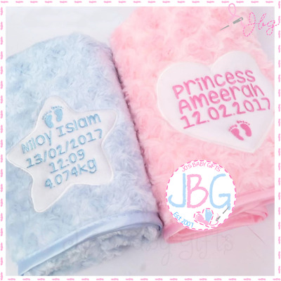 Personalised Baby Blanket, Luxury Embroidered Gift, Fluffy & Soft, Star or Heart
