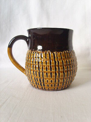 "Vintage CREIGIAU Wales POTTERY Small MUG Welsh Slipware Handmade 8.5 cm 3.5""high"