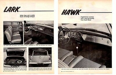 1962 Studebaker Lark & Hawk ~ Original 4-Page New Car Preview Article / Ad