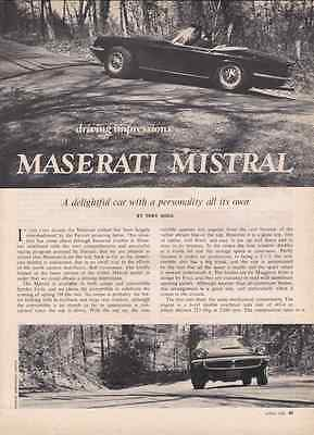 1968 Maserati Mistral  ~  Great 6-Page Original Article / Ad