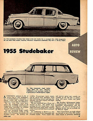 1955 Studebaker President / Commander  ~  Original Auto Review Article / Ad