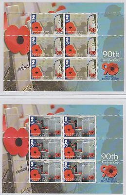 British Indian Ocean Territory 90th Anniversary of  RBL 2011 8 Sheetlets U/Mint