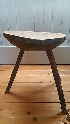 Antique Tribal Primitive Bowl Table Stool Rustic Collectible Milking Wooden
