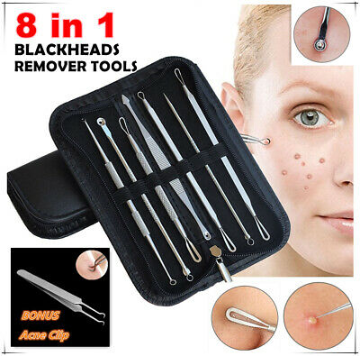 7Pcs Set Blackhead Remover Acne Blemish Comedone Pimple Extractor Tool Kit Face