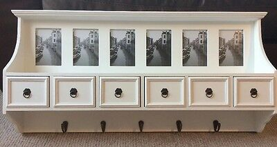 Gorgeous Wooden White 6 Drawer Hallway Cabinet With 5 Antique Brass Hooks