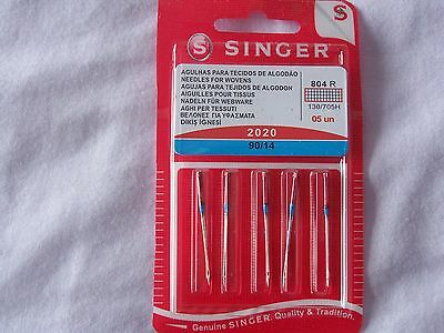 SINGER SEWING MACHINE NEEDLES 2020-PACK of 5 90/14 FOR WOVEN FABRICS FREE P/P