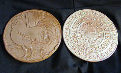 Vintage Frankoma Pottery Set of 2 Trivets Rooster & Sequoyah Cherokee Alphabet