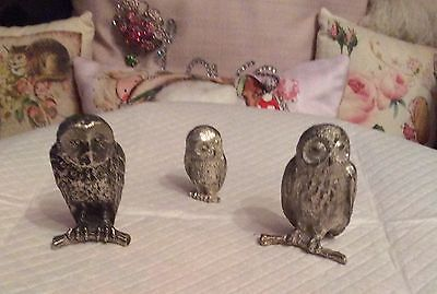 Vintage Metal Owl Figures Ornament Wildlife Bird Figure Cast Statue Figurine