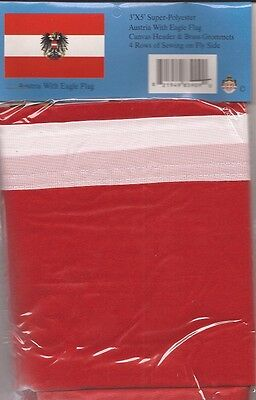 LOT OF 6 Austria w/Eagle 3x5 Polyester Flags $5.95 each,  Austrian 3 x 5 flags
