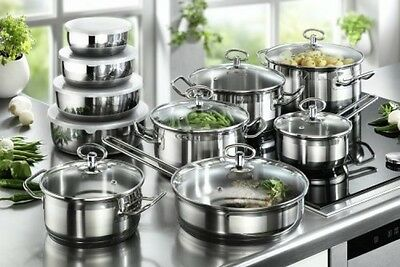 20 Piece Induction Cookware Set with Bowls Pots Pans Stainless Steel Non Stick