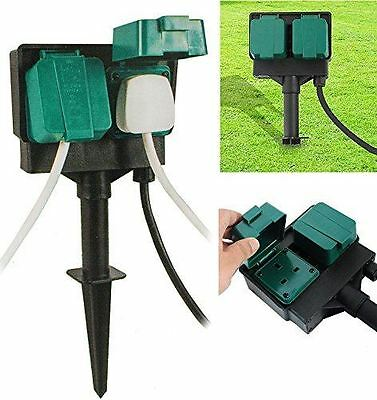 New 2 Way Outdoor Garden Sockets With 4M Cable Weather Proof Plug Splash Proof