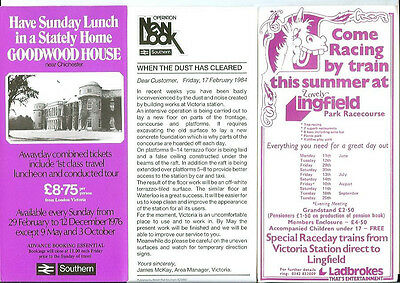 London Victoria Railway Station 3 handbills excellent state race day specials