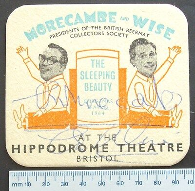 Eric Morecambe and Ernie Wise Autograph Beer Mat Vintage Comedy Entertainment TV