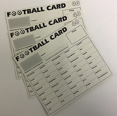 100 x 40 TEAM FOOTBALL FUNDRAISING SCRATCH CARDS GREAT QUALITY