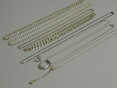 Job lot of Sterling Silver Jewellery 9 x chains Suit Trade seller Not Scrap