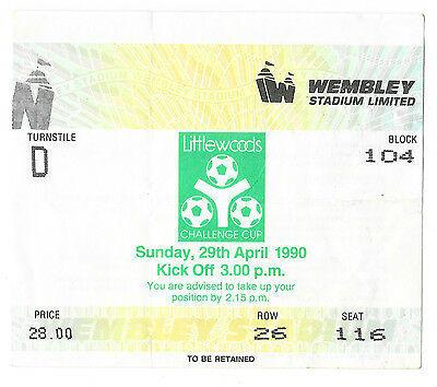 1990 - Nottingham Forest v Oldham Athletic, League Cup Final Match Ticket.