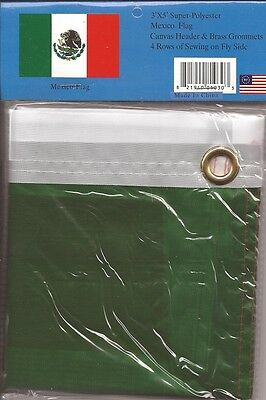 LOT OF 6 Mexico 3x5 Polyester Flags $5.95 Each, Mexican 3 x 5 Flag