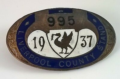 Rare Vintage Liverpool County Stand members badge,Royal Grand National   1937