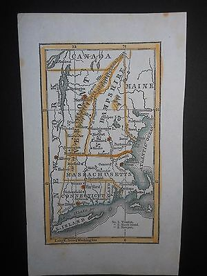 Vermont New Hampshire Massachusetts Connecticut Long Island 1848 Map Hand Color