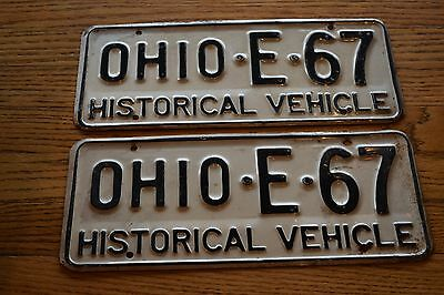 Vintage Ohio HISTORIC VEHICLE Pair of License Plates; Auto License Plate; E 67