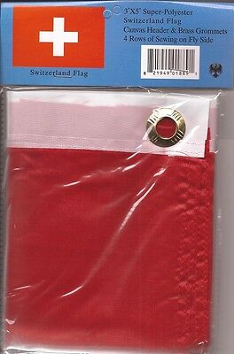 LOT OF 6 Switzerland 3x5 Polyester Flags $5.95 Each, Swiss 3 x 5 Flag