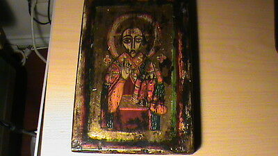 vintage russian icon  6 by 9 inches old wood
