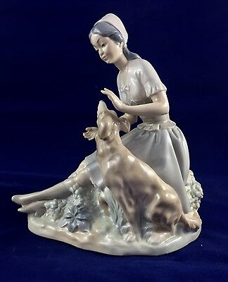 Pristine Rare Retired Nao By Lladro Seated Lady Petting Her Dog, Mint Condition