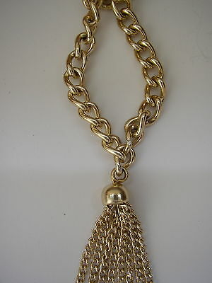Vtg 20s-style Gold/gilt-tone metal chain link long necklace Tassel pendant ?60s